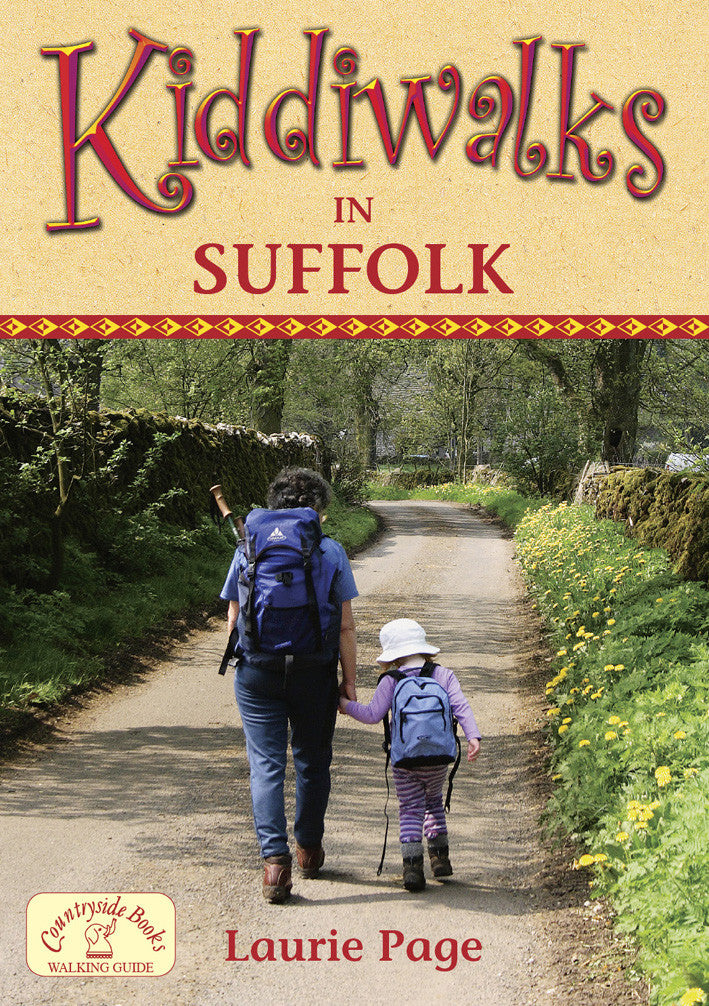 Kiddiwalks in Suffolk book cover. 20 family walks.