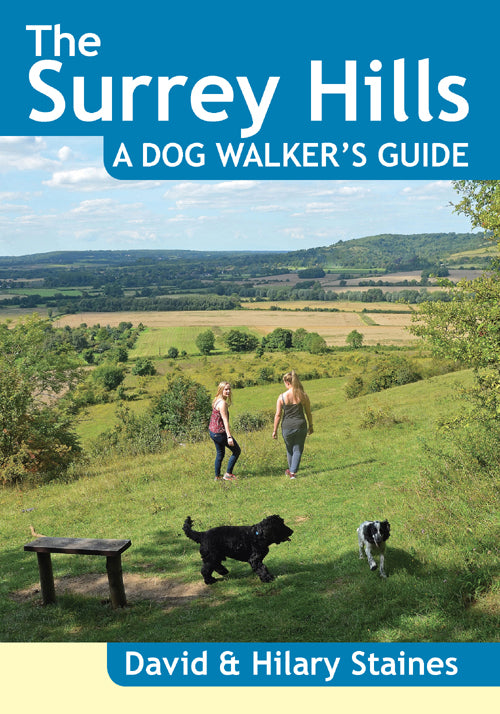 The Surrey Hills A Dog Walker's Guide book cover. Best dog walks.