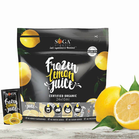 Soga Organic Frozen Lemon Juice Pouches 24 x 10ml