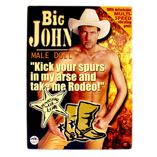 "Big John Male Doll with 7.5"" Vibrating Penis, 2 Penetrating Holes"