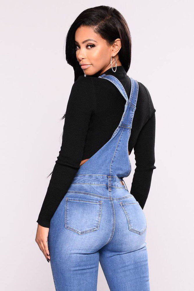 Light Blue Denim Overalls Ripped Jeans