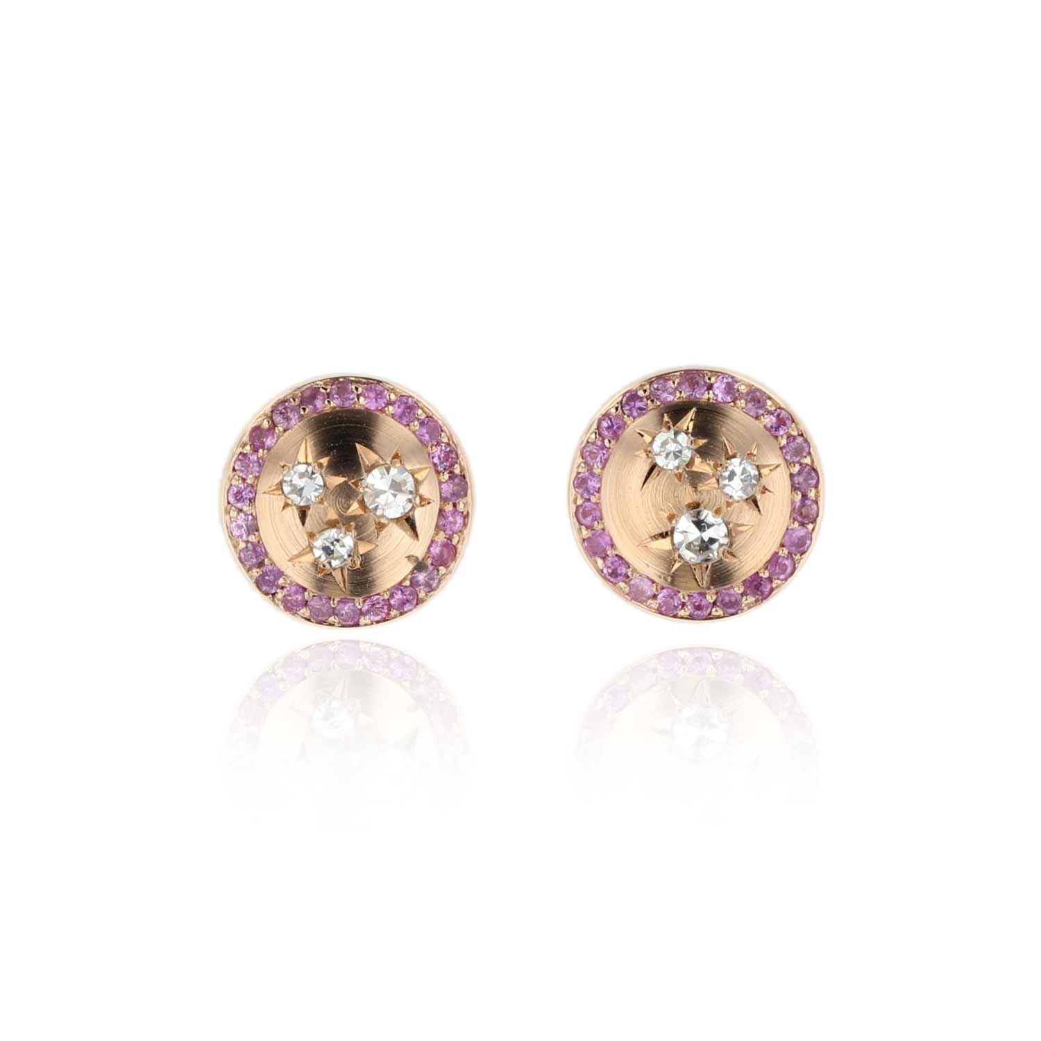 Button Stud Earrings with Diamonds and Pink Sapphires 18K Rose Gold