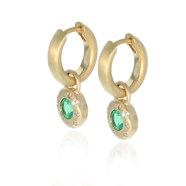 Emerald Round Cut Huggie Charm Earrings - 18K Yellow Gold