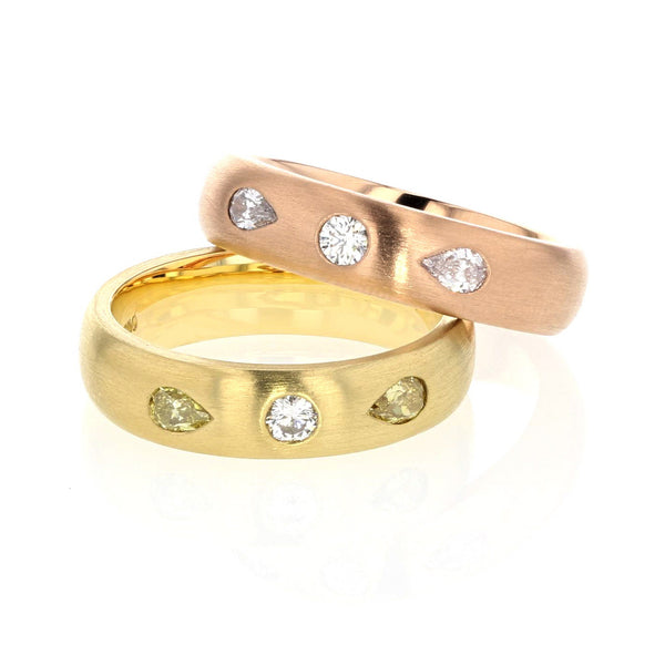 Gold Band with Pear-Shaped Diamonds 5mm wide - 18K Rose Gold