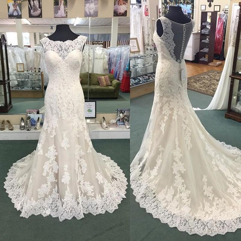 Scoop Neck Sheath Long Lace Women Wedding Dress Hollow Back