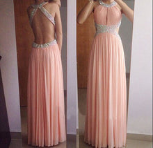 Open Back Long Chiffon Pink Prom Dress Halter Neck Beaded
