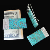 Money Clip, Native American Navajo Multi Stone Inlay