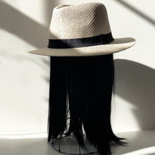 Stylish Panama Hat with Attached Halo Wig Hair Piece