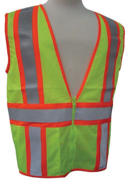 3A Safety - ANSI Certified Mesh Flagger Safety Vest Lime Color Size X-large