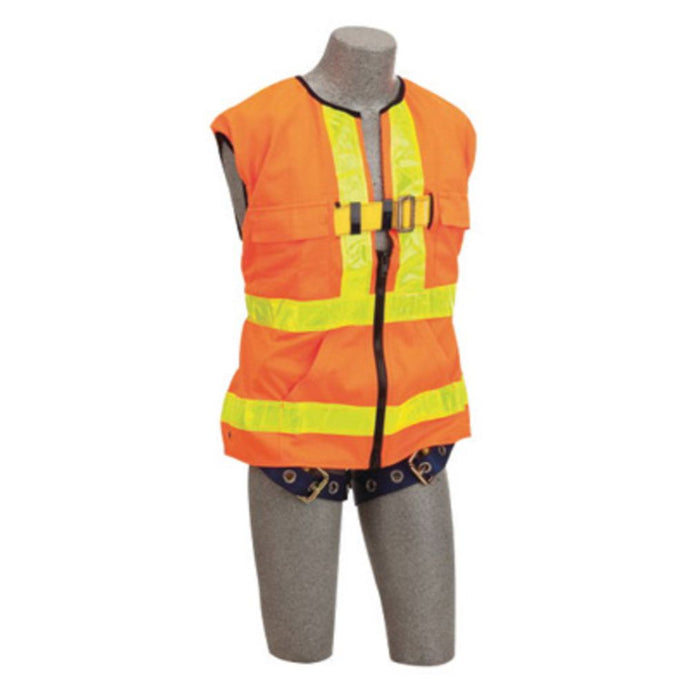3M DBI-SALA Small Delta Hi-Viz Orange No-Tangle Full Body/Workvest Style Hi-Viz Orange Harness With Back D-Ring And Tongue Leg Strap Buckle