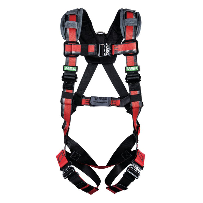 MSA X-Large EVOTECH Full Body Style Harness With Qwik-Connect Chest Strap Buckle, Tongue Leg Strap Buckle, Back, Hip And Chest D-Ring And Shoulder Padding