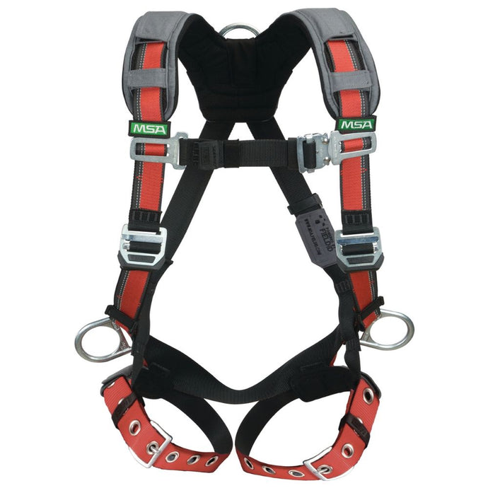 MSA EVOTECH X-Large Full Body Harness With Quick Connect Leg Straps, Back And Hip D Rings