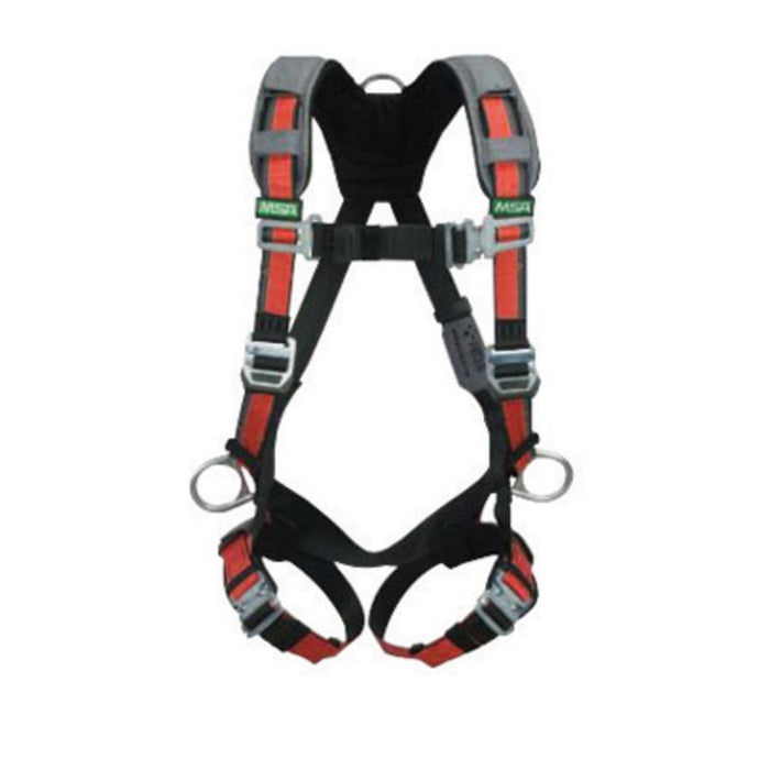 MSA X-Large EVOTECH Full Body Style Harness With Qwik-Connect Chest And Leg Strap Buckle, Back And Hip D-Ring And Shoulder Padding