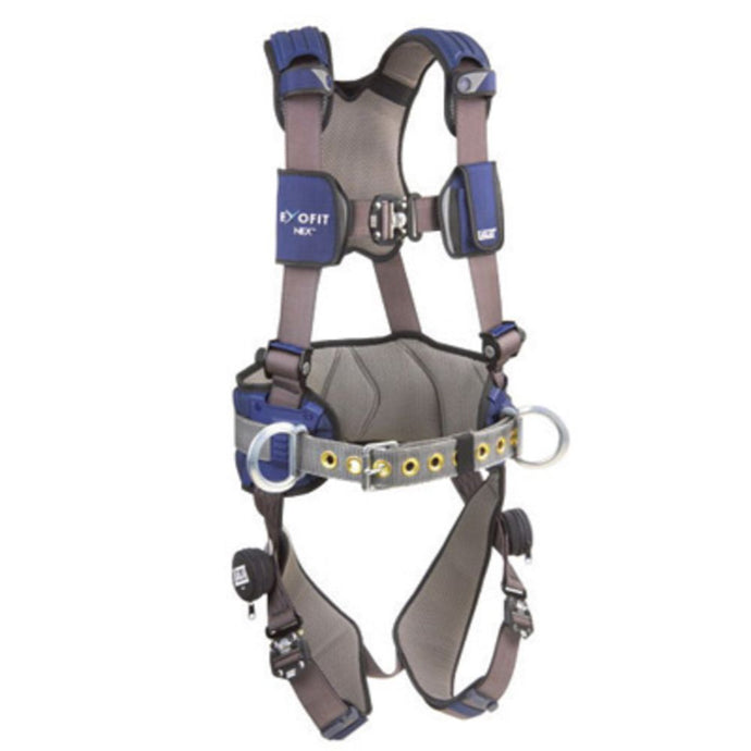 3M DBI-SALA 2X ExoFit NEX Construction/Full Body Style Harness With Tech-Lite Aluminum Back, Front And Side D-Ring, Duo-Lok Quick Connect Leg And Chest Strap Buckle, Belt With Pad, Torso Adjuster, Back And Leg Comfort Padding