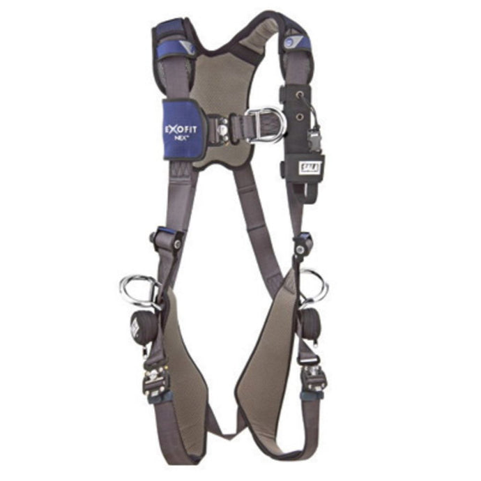 3M DBI-SALA Large ExoFit NEX Full Body/Vest Style Harness With Tech-Lite Aluminum Back, Front And Side D-Ring, Duo-Lok Quick Connect Leg And Chest Strap Buckle, Torso Adjuster, Back And Leg Comfort Padding