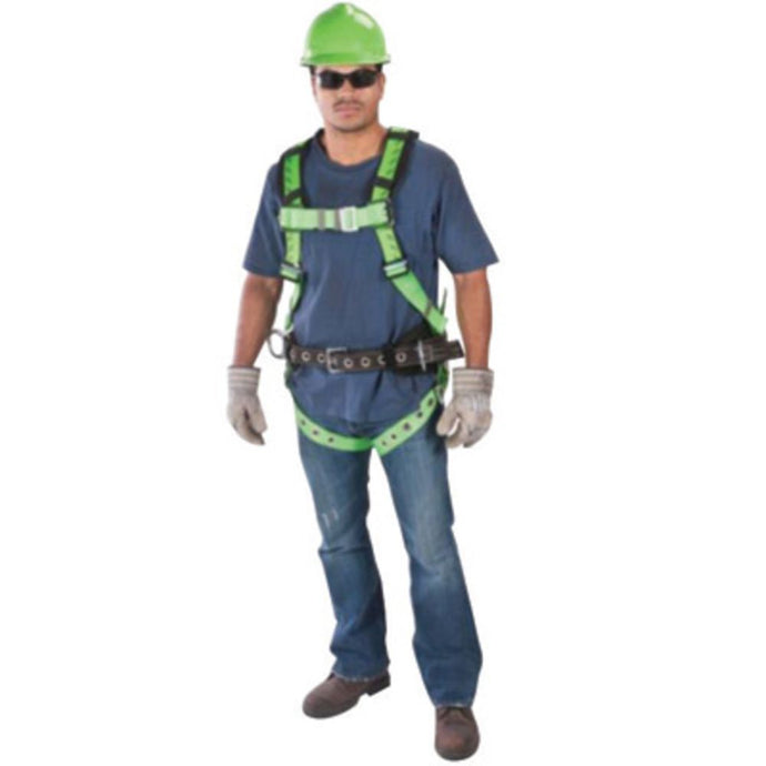 MSA Standard TechnaCurv Full Body/Vest Style Harness With Qwik-Fit Chest Strap Buckle, Tongue Leg Strap Buckle, 1 Back D-Ring And Padding Shoulder