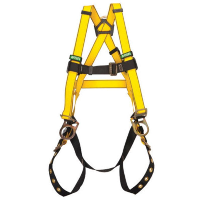 MSA Standard Workman Construction Style Harness With Qwik-Fit Chest Strap Buckle, Tongue Leg Strap Buckle, Back And Chest D-Ring