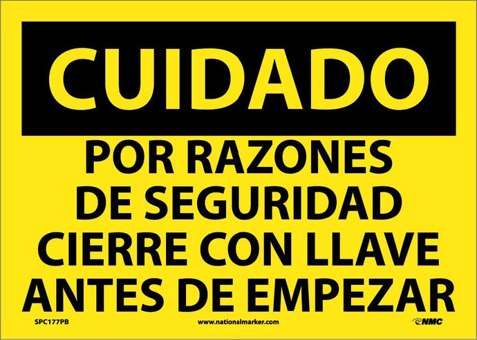 Caution Lockout Before Start Sign - Spanish