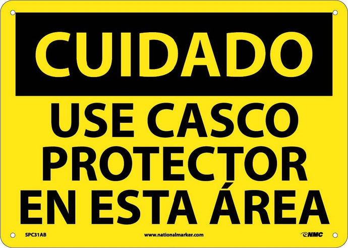 Caution Hard Hat Area Sign - Spanish