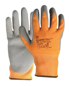 Wells Lamont X-Large Hi-Viz Orange And Gray GuardTec3 Dipped Cut Resistant Gloves With Knitwrist And Thermal Lining