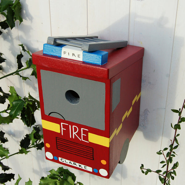 Personalised Fire Engine Bird Box - Lindleywood