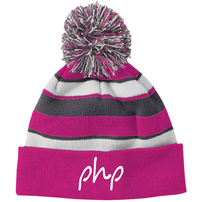 Holloway Striped Beanie with Pom