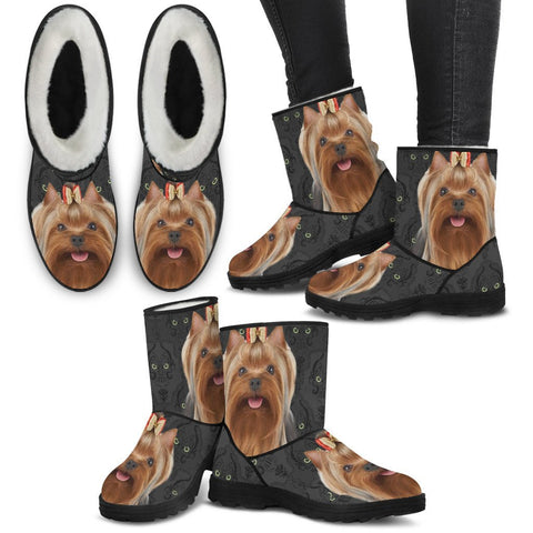 Yorkshire terrier (Yorkie) Print Faux Fur Boots For Women-Free Shipping