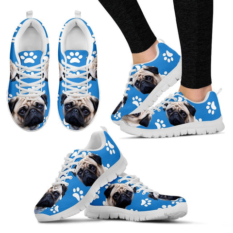 Paws Print Pug Dog (Black/White) Running Shoes - Free Shipping