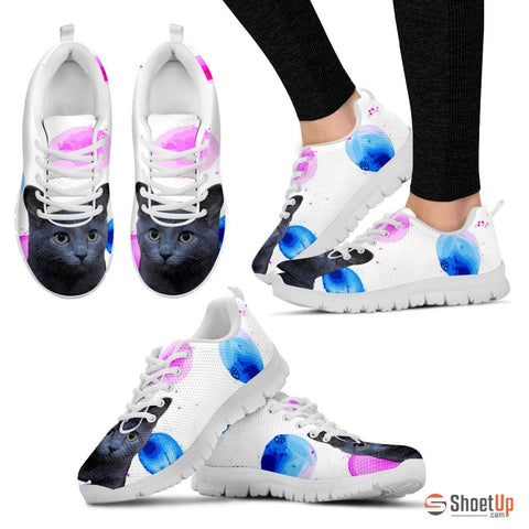 Russian Blue Cat Print (White/Black) Running Shoes - Free Shipping