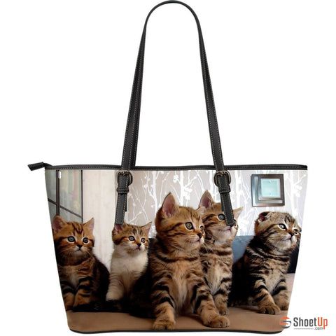 Cat In Lot Large Leather Women Tote Bag- Free Shipping