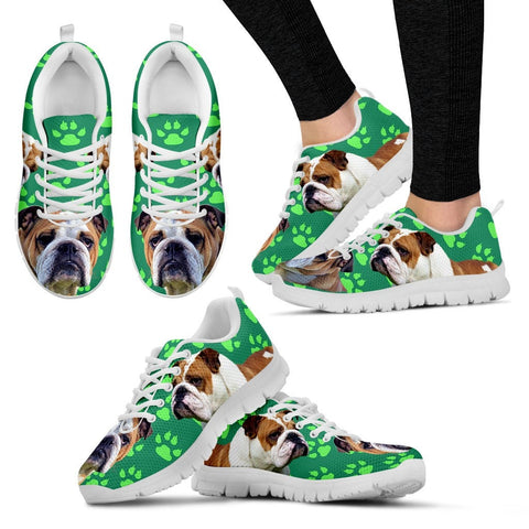 Paws Print Bulldog (Black/White) Running Shoes - Free Shipping