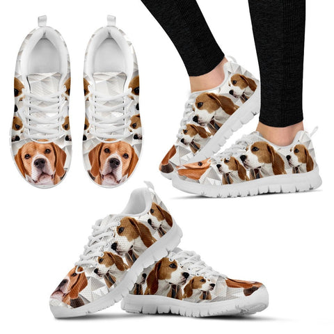 Beagle Dog Women (Black/White) Running Shoes - Free Shipping