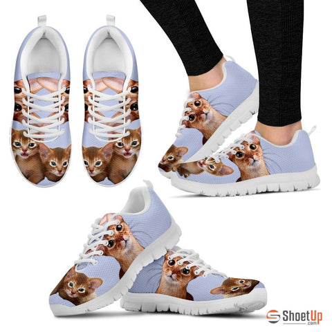 Shoetup Abyssinian Cat Print (White/Black) Running Shoes For Women