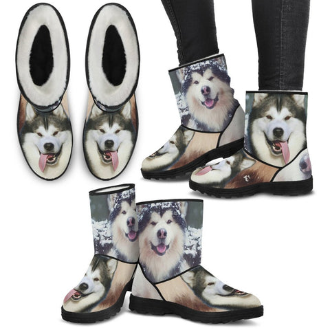 Laughing Alaskan Malmute Print Faux Fur Boots For Women- Free Shipping