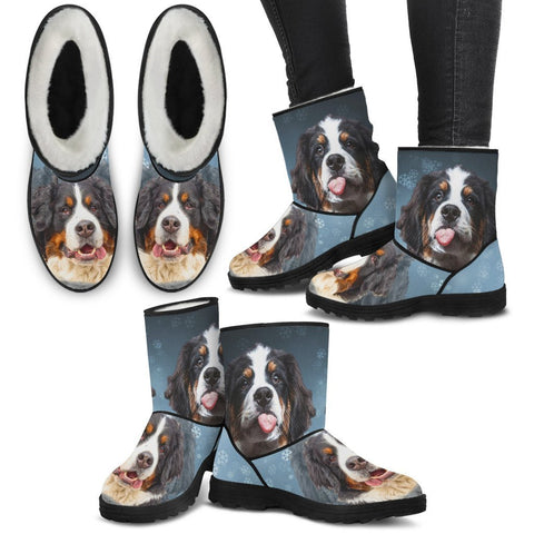 Bernese Mountain Dog Print Faux Fur Boots- Free Shipping