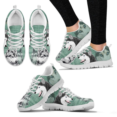 Siberian Husky Sketch Print Running Shoes - Free Shipping