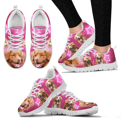 Nova Scotia Duck Tolling Retriever On Pink Print Running Shoes - Free Shipping