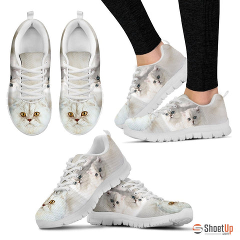 White Persian Cat Print Running Shoes - Free Shipping