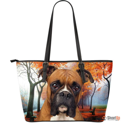 Boxer Dog Large Leather Tote Bag- Free Shipping