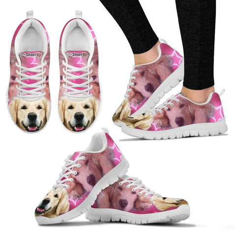 Golden Retriever On Pink Women Running Shoes - Free Shipping