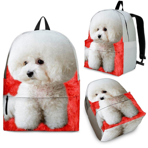 Bichon Frise On Red Fur Backpack- Free Shipping