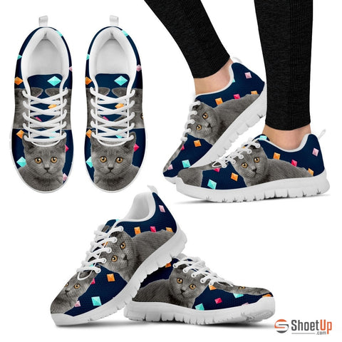 Chartreux Cat (White/Black) Women Running Shoes - Free Shipping