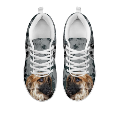 Afghan Hound Black White Dog Women Running Shoes - Free Shipping