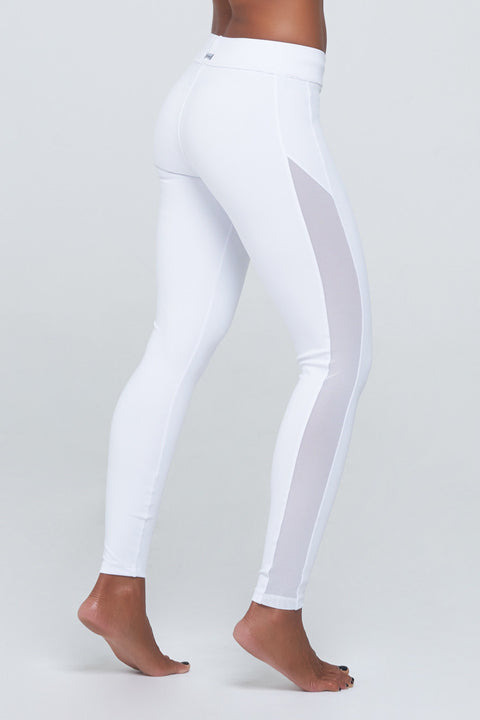 Jennifer Legging two in White Spandex with edgy white mesh details.