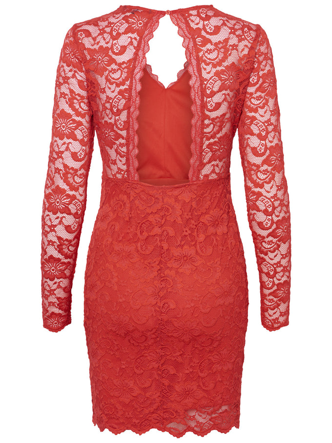 LONG SLEEVE LACE DRESS CHINESE RED