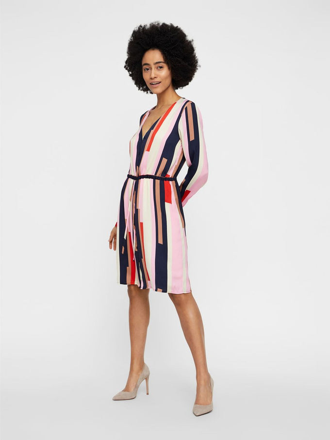 COLOURFUL SHIRT-DRESS PRISM PINK