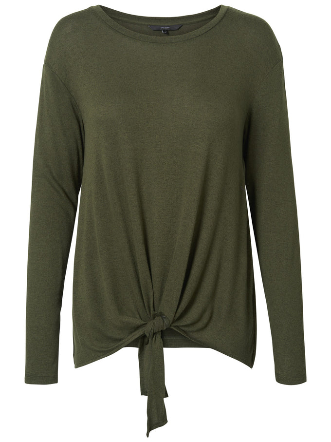 LONG SLEEVE T-SHIRT WITH A KNOT DETAIL IVY GREEN