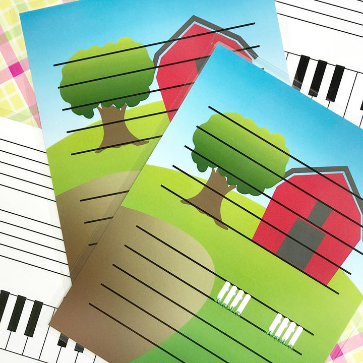 The Barnyard Friends laminated dry erase board is a terrific teaching aid for young piano students.