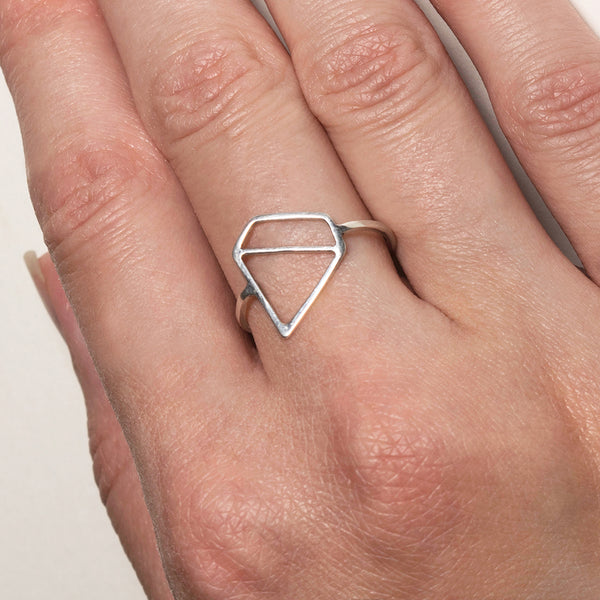 Ice Diamond Ring - A little playful bling in a sterling silver ring designed by Tinker Company. Shown here on model. Made in NYC.