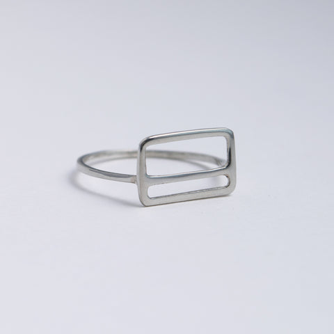 Metrocard Ring in sterling silver, a minimal geometric design inspired by the modern subway ticket.